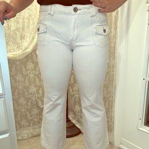 White modern flare leg pants